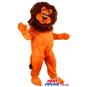Orange lion with brown mane and long dangling fluffy end tail -