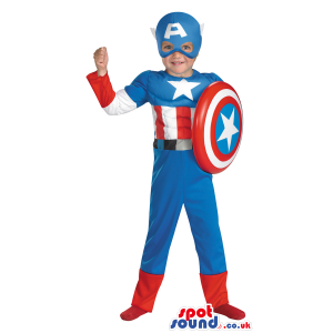 Cool Strong Captain America Children Size Costume - Custom