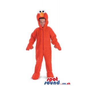 Cute Red Elmo Character Hairy Children Size Costume - Custom