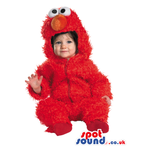 Very Cute Red Elmo Character Hairy Baby Size Costume - Custom