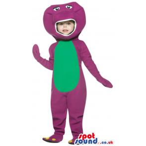 Cool Purple And Green Dinosaur Children Size Plush Costume -