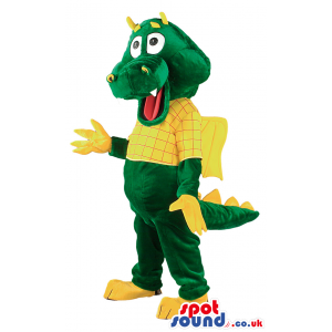 Giant green dragon mascot with yellow hand,feet,wings and