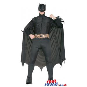 All Black Batman Cartoon Character Adult Size Costume - Custom