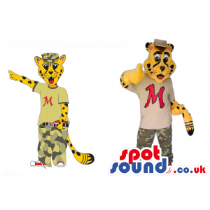 Yellow Tiger Character Couple Mascots Wearing Camouflage Pants