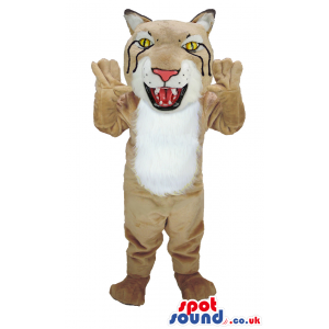 Beige Tiger mascot with fluffy white underbelly and sharp teeth