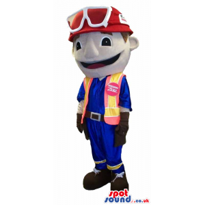 Customizable Boy Plush Mascot In A Helmet And Vest With Logo -