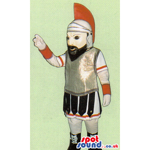 Amazing Roman Soldier Human Mascot With Black Beard - Custom