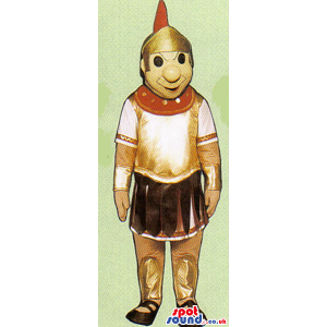 Amazing Roman Soldier Human Mascot With Red Clothes - Custom