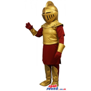 Amazing Medieval Soldier Human Mascot In A Golden Armor -