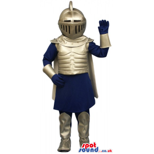Amazing Medieval Soldier Human Mascot In A Silver Armor -