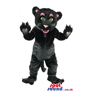 Black female panther mascot with white whiskers and pink