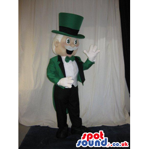 Amazing Magician Human Mascot In Green And White Garments -