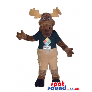 Cute Reindeer Plush Mascot Wearing Clothes With Text And Logo -