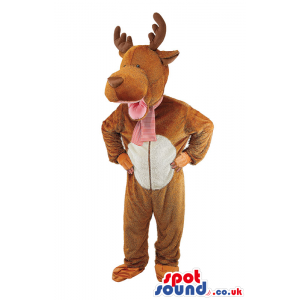 Cute Deer Animal Plush Mascot Or Adult Costume With A White