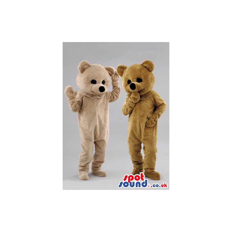 Two soft bear mascot one brown and the other cream colored -