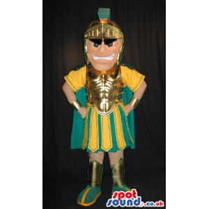 Angry Roman Soldier Human Mascot In Yellow And Green Clothes -