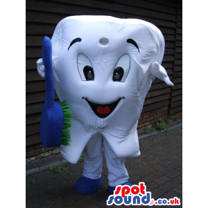 Gratified white tooth with blue tooth brush and shoes - Custom