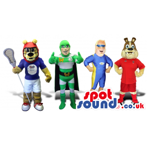 Group Of Four Cool Animal And Super Hero Plush Mascots - Custom