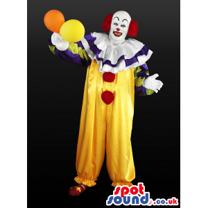 Funny Clown Adult Size Costume Or Mascot With Balloons - Custom