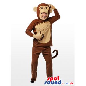 Cute Big Brown And Beige Monkey Children Size Plush Costume -
