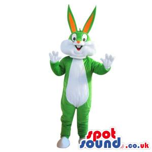 Cute Bugs Bunny Alike Plush Mascot In Green And White - Custom