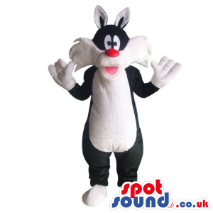 Sylvester Cat Alike Character Plush Mascot With A Red Nose -
