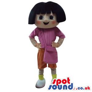 Dora The Explorer Cartoon Character Mascot With Red Cheeks -