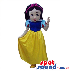 Snow White Girl Tale Character Plush Mascot With A Yellow Dress