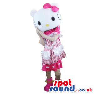 Kitty Cartoon Character Plush Mascot With A White And Pink