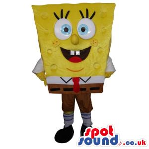Sponge Bob Square Pants Cartoon Character Mascot With Blue Eyes