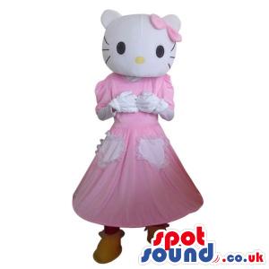 Kitty Cartoon Character Plush Mascot With A Long Dress - Custom