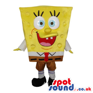 Sponge Bob Square Pants Cartoon Character Mascot With Big Eyes