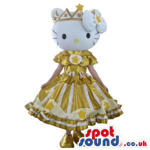 Popular Kitty Character Plush Mascot Wearing A Golden Dress -