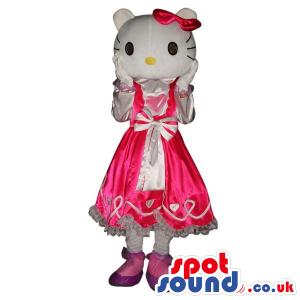 Kitty Character Plush Mascot Wearing A Pink Dress With A Ribbon