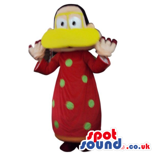 Funny Man Plush Mascot Dressed In A Duck Disguise In Brown -