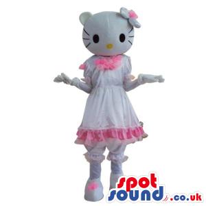Kitty Character Plush Mascot With A Shinny White Dress - Custom