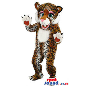 Friendly tiger mascot with black stripes and white underbelly -