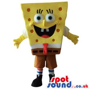 Sponge Bob Square Pants Cartoon Character Mascot With Red Dots