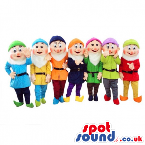Snow White And The Seven Dwarfs Mascots In Varied Clothes -