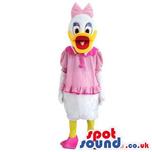 Donald Duck Disney Cartoon Character Plush Mascot In Pink Dress