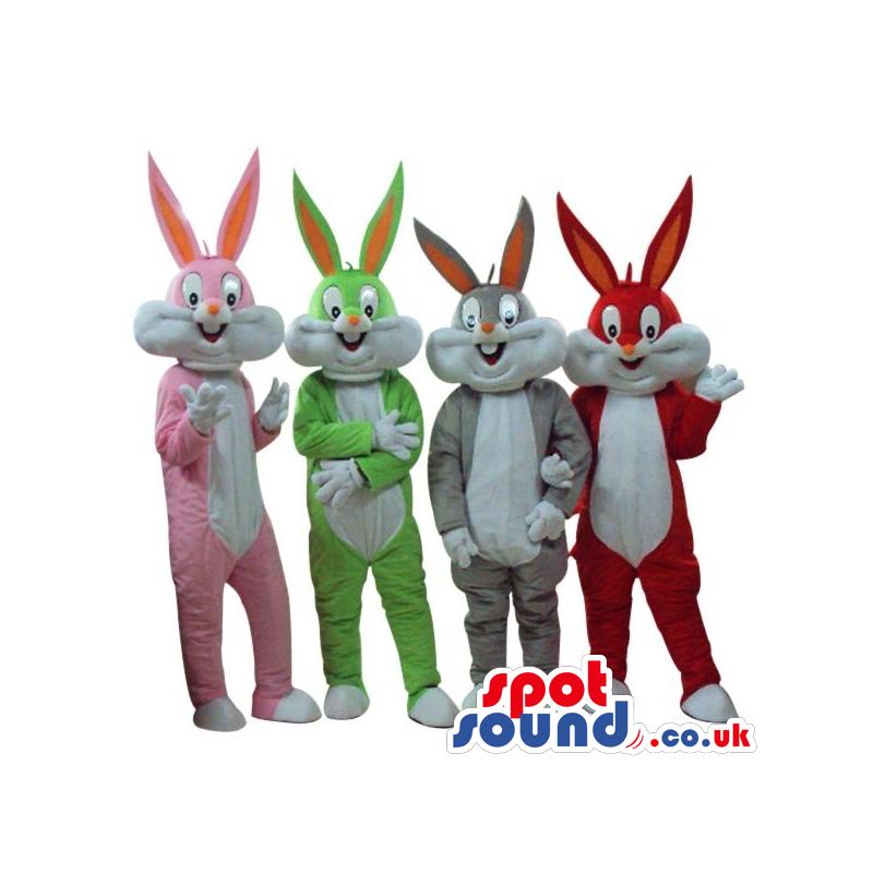 Four Bugs Bunny Alike Cartoon Character Plush Mascots - Custom