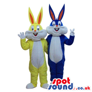 Two Bugs Bunny Alike Cartoon Character Mascots In Yellow And