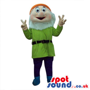 Snow White And The Seven Dwarfs Mascot In Green Clothes -