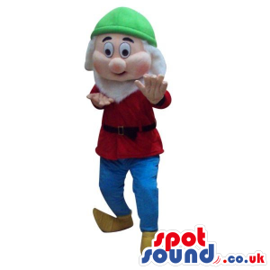 Snow White And The Seven Dwarfs Mascot In Red And Green Clothes