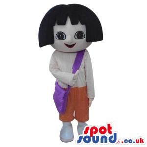 Dora The Explorer Cartoon Character Mascot In White Shirt -