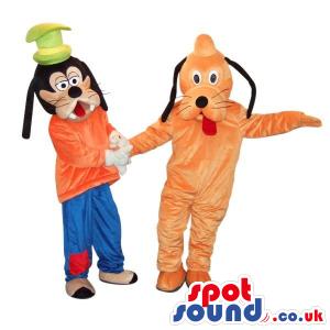 Two Popular Disney Cartoon Character Mascots: Pluto And Goofy -