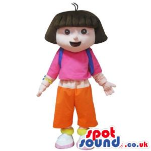 Dora The Explorer Cartoon Character Mascot In A Pink Shirt -