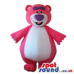 Cute Pink Teddy Bear Plush Mascot With A Big White Belly -