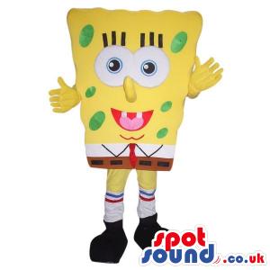 Sponge Bob Cartoon Character Mascot With Green Dots - Custom