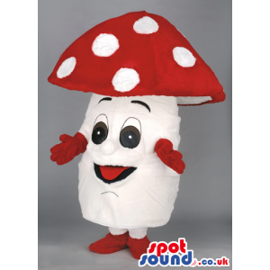 Glad looking white mushroom with red head and white polka dot -